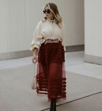 Zara SS20 Burgundy Tulle Skirt With Tulle Frills Size M Sold Out Bloggers Fav