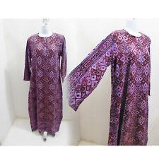Vintage 60s Dress Size M Purple Tribal Boho India Cotton Caftan Vtg Deadstock A5