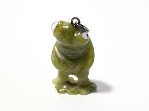 Antique FROG 1920's JADE / HARDSTONE Miniature Lucky Charm Glass Eyes 2cm #CJ27