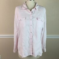 Chicos 2 Womens Top Linen Snap Down Long Sleeve Light Pink Size L