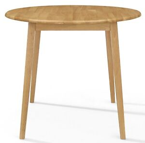 Small Wooden Kitchen Drop Leaf Round Dining Table in Oak Finish |100% Solid Wood