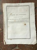Note concernant le Maréchal de Beauvau relatif à l'état de paiemens Guerre 1790