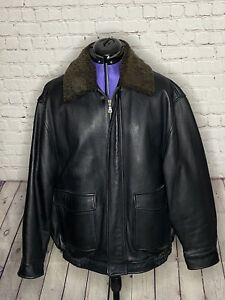 Jos A Bank Black Leather Bomber Jacket Size Large Removable Lamb Collars & Liner
