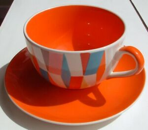 Whittard spotted triangle diamond breakfast cup & saucer