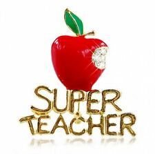 Fashion Red Lettering Super Teacher Crystal Bite Fruit Brooch Pin Women Gift