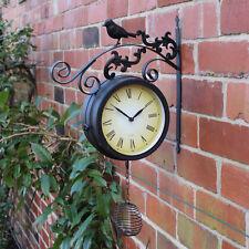 Nero RUSTICO per esterni Bird Orologio ornata da Giardino in Metallo Numeri Romani montabile a parete