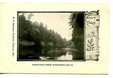 Greetings from Wisconsin Dells-Navy Yard-Scenic Water View-Vintage Postcard