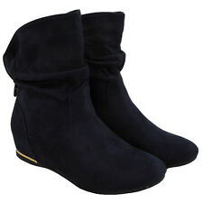 Womens Ladies Flat Faux Suede Slouch Low Heel Wedge Ankle BOOTS Shoes Size UK 6 / EU 39 / US 8 Navy
