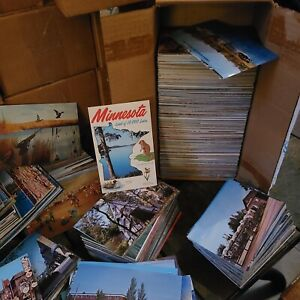 1000 NOS Vintage postcard Box Lot of Fishing Hunting Boating Skiing Nature