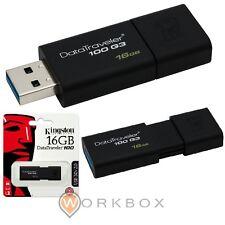 PEN DRIVE Flash USB 3.0 16GB Kingston DT-100 DT100G316GB NERA SCORRIMENTO