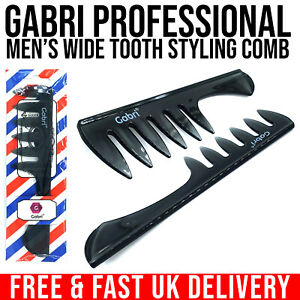Gabri Professional Men's Wide Tooth Styling Comb Antistatic Carbon Handle Comb