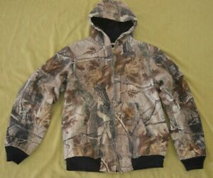 Carhartt Real Tree Camo Duck Hooded Jacket Size XL/TG/XG Youth Wear Lined