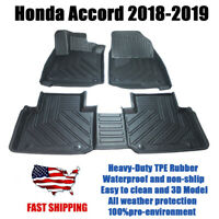 Fits for Honda Accord 2018-2019 All Weather TPE Floor Liner Mat 3D Molded Black