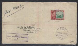 BRITISH SOLOMON ISLANDS COVER (P3105B) 1947 KGVI 5/- AUKI TO AUSTRALIA REG