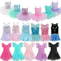 Girls Kids Ballet Dance Dress Leotards Chiffon Wrap Tutu Skirt Ballerina Costume