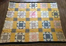 Twin sz Nine patch and Rails vintage handmade quilt 69 x 91 flying geese yellow