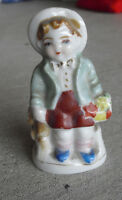 """Vintage 1930s Japan Bisque Little Boy with Flowers Figurine 3 1/2"""" Tall"""