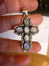 Beau pendentif CROIX style ancien en ARGENT 925 avec pierres de lune poinçon