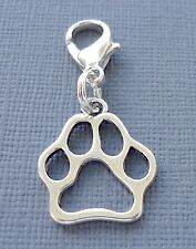 Dangle Dog Paw print Clip On Charm with Lobster Clasp Fit for Link Chain C166