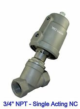 "Pneumatic Air Actuated Angle Seat Steam Water Valve 3/4"" Inch Single Acting Nc"