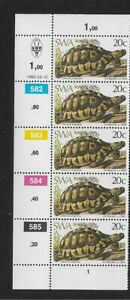 1982 South West Africa Tortoise - Corner Strip With Inscriptions - MNH.