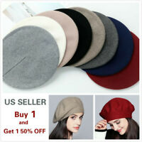 Women Vintage French Style Beret Hat Soft Wool Warm Cap Beanie Winter Autumn