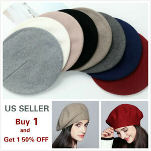 URATOT 4 Pieces Beret Hat for Women Classic Solid Color French Style Beanie Winter Cap