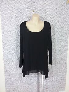 CLARITY Black Long Sleeved Top Casual Work Size L