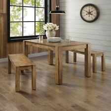 Bench Dining Table Porch Hallway Rustic Solid Wood Block Leg Farm House Vintage