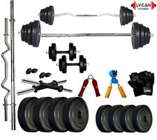 Lycan 24 Kg Home Gym Set+3 Ft Curl Rod+5 Ft Plain Rod+Accessories