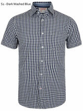 ESPRIT Slim Short Sleeve Check Shirts Casual Cotton Shirt Navy White Small S