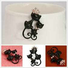 Lovely Double Cat Brooch Pin Rhinestone Boutonniere Scarf Sweater Badge Decor 8C