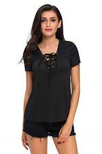 Maglia maglietta scollo aperta Lacci Stringhe Ballo Casual T-shirt Lace-up Top S