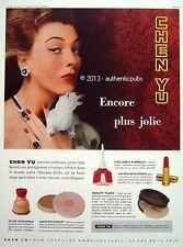 PUBLICITE CHEN YU ROUGE A LEVRES VERNIS A ONGLE PRODUIT DE BEAUTE 1954 FRENCH AD
