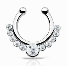 1pc Fake Septum Clicker CZ Gem Nose Hoop Ring Nose Septum Piercing Bull Ring Hot