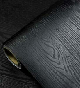 Wood Peel And Stick Wallpaper Black Wood Self-Adhesive & Removable Wallpaper NEW