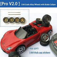 【Pro V2.0】 1/64 Scale Alloy Wheels with Brake Caliper, rubber tires ,stickers