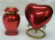 KEEPSAKE URN SET--BRIGHT RED WITH GOLD ACCENTS