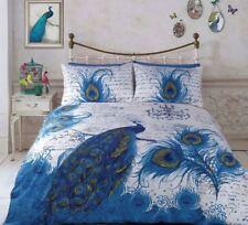 Peacock Bird Double Size Quilt / Doona Cover Set Retro Home Blue Script