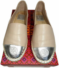 Tory Burch Beige Leather Silver cap Toe Espadrilles Ballet Flats Loafers 8.5