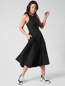 ATHLETA Winona Midi Support Dress  S Small |  Black Hybrid #531170 NEW