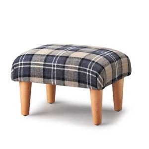 Biagi Upholstery & Design Grey Black Ivory Plaid Tartan Footstool- ON SALE
