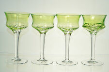 CRYSTAL Light Green Diamond Cut Wine Sherbet Glass Set/4 Hungary New