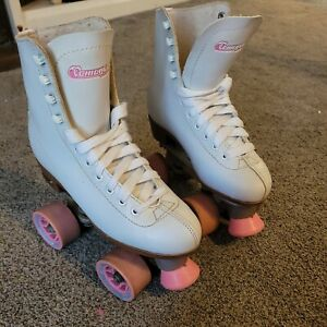 Chicago Roller Quad Skates WOMEN'S white & pink wheels **Great Cond.** (SIZE 6)