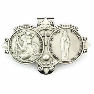 Visor Clip St Christopher & Our Lady Highway Medals Catholic Pewter Vintage Car