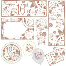 Elegant Rose Gold Happy Birthday Banners Decorations Balloons Party Supplies