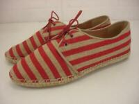 Women's 8.5 M Eileen Fisher Lace-Up Flat Espadrille Shoes Jute Red Khaki Striped