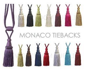 PAIR Curtain Tiebacks -  21cm Tassel 70cm Embrace Tie-Back - 15 Colours - Barrel