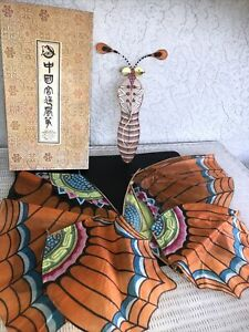 Vintage 43 X 18 Chinese Bamboo & Silk Butterfly Kite In Original Box