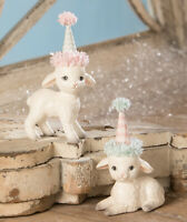 Spring Party Lamb Figurines Set of 2 Easter Decor New Bethany Lowe